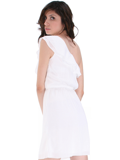 DN8080 One Shoulder Ruffle Cocktail Dress - Ivory, Back View Medium