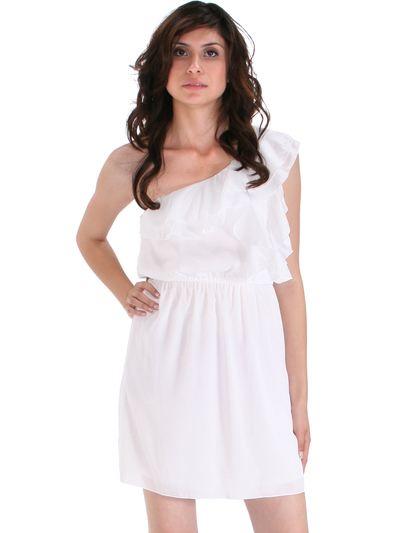 DN8080 One Shoulder Ruffle Cocktail Dress - Ivory, Front View Medium