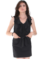 Black Ruffle Neckline Day and Night Dress - Alt Image
