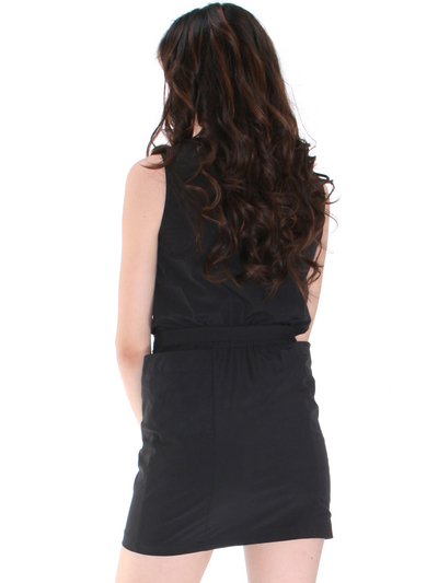 DN8133 Ruffle Neckline Day and Night Dress - Black, Back View Medium