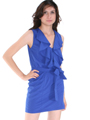 DN8133 Ruffle Neckline Day and Night Dress - Royal, Front View Thumbnail