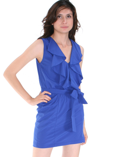 DN8133 Ruffle Neckline Day and Night Dress - Royal, Front View Medium