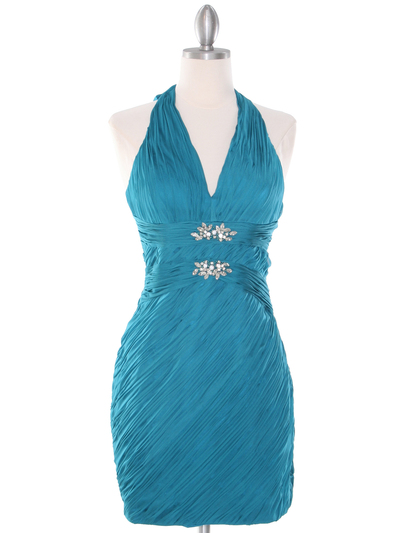DPR1329 Ruched Halter Cocktail Dress - Teal, Front View Medium