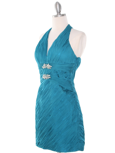 DPR1329 Ruched Halter Cocktail Dress - Teal, Alt View Medium