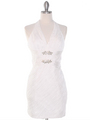 DPR1329 Ruched Halter Cocktail Dress - White, Front View Thumbnail