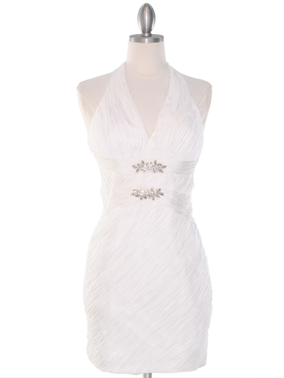 DPR1329 Ruched Halter Cocktail Dress - White, Front View Medium