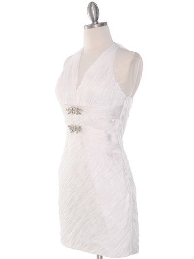 DPR1329 Ruched Halter Cocktail Dress - White, Alt View Medium