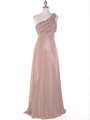 DPR1279 Rhinestone Braided Bodice Empire Waist Evening Dress - Beige, Front View Thumbnail