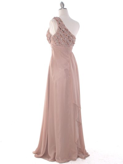 DPR1279 Rhinestone Braided Bodice Empire Waist Evening Dress - Beige, Back View Medium