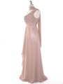 DPR1279 Rhinestone Braided Bodice Empire Waist Evening Dress - Beige, Alt View Thumbnail