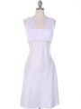 E1165 White Graduation Dress with Rhinestone Trim - White, Front View Thumbnail
