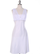 White Graduation Dress with Rhinestone Trim