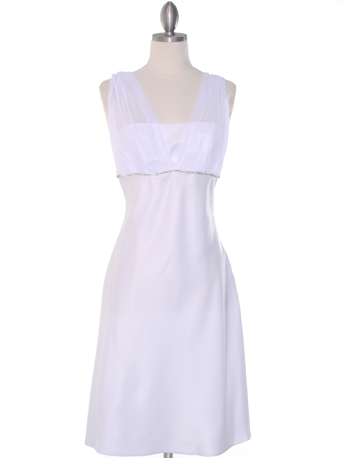 E1165 White Graduation Dress with Rhinestone Trim - White, Front View ...