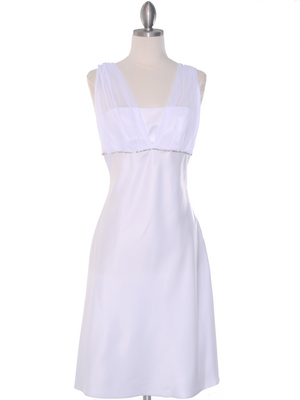 E1165 White Graduation Dress with Rhinestone Trim, White