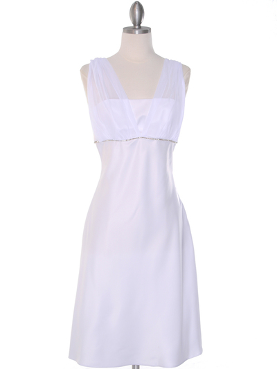 E1165 White Graduation Dress with Rhinestone Trim - White, Front View Medium