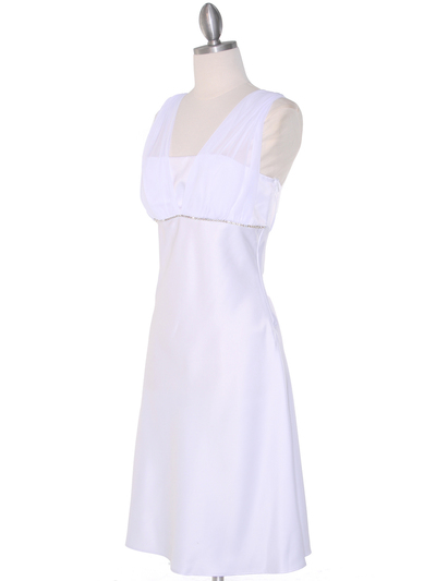E1165 White Graduation Dress with Rhinestone Trim - White, Alt View Medium
