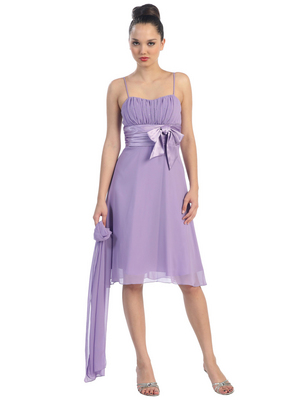 E1435 Satin Bow Cocktail Dress, Lilac
