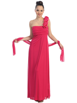 E1701 One Shoulder Bridesmaid Dress, Fuschia
