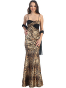 Animal Print Mermaid Style Evening Dress