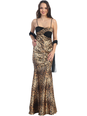 E1717 Animal Print Mermaid Style Evening Dress, Black Cheetah