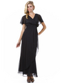 1735 Chiffon Evening Dress - Black, Front View Thumbnail