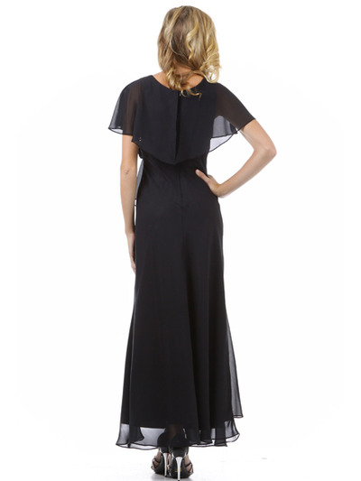 1735 Chiffon Evening Dress - Black, Back View Medium