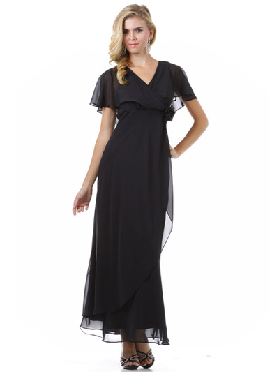 1735 Chiffon Evening Dress - Black, Front View Medium
