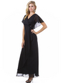 1735 Chiffon Evening Dress - Black, Alt View Thumbnail