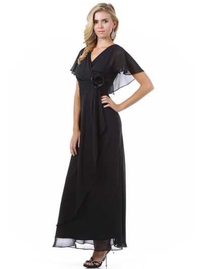 1735 Chiffon Evening Dress - Black, Alt View Medium