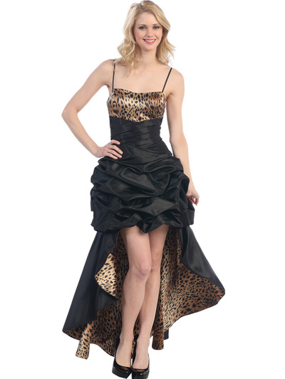 E1788 Animal Print High Low Evening Dress - Black Cheetah, Front View Medium