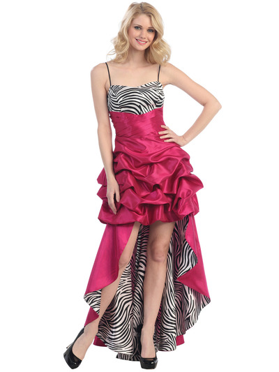 E1788 Animal Print High Low Evening Dress - Fuschia Zebra, Front View Medium