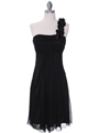 E1801 Black One Shoulder Cocktail Dress - Black, Front View Thumbnail