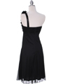 E1801 Black One Shoulder Cocktail Dress - Black, Back View Thumbnail