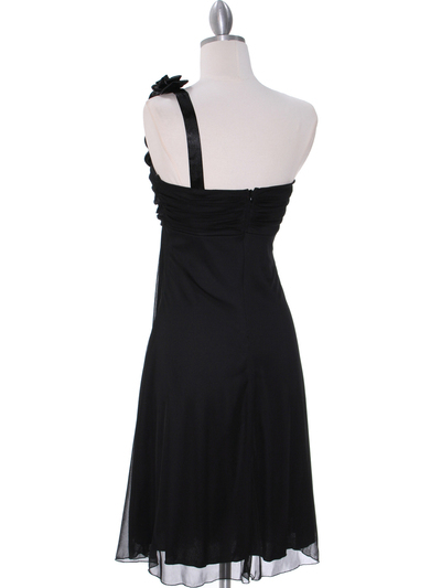 E1801 Black One Shoulder Cocktail Dress - Black, Back View Medium