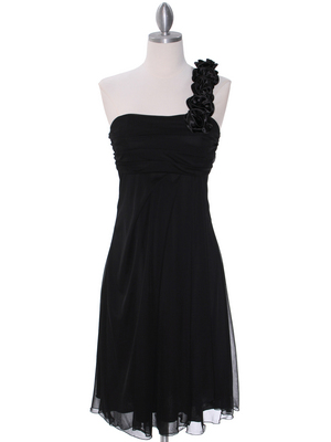 E1801 Black One Shoulder Cocktail Dress, Black
