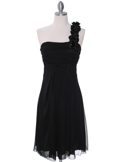 E1801 Black One Shoulder Cocktail Dress - Black, Front View Medium