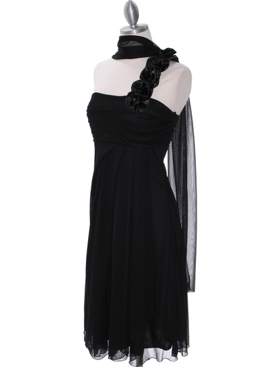 E1801 Black One Shoulder Cocktail Dress - Black, Alt View Medium