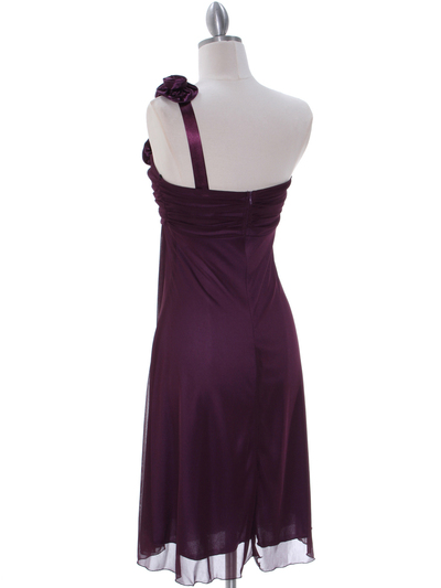 E1801 Purple One Shoulder Homecoming Dress - Purple, Back View Medium