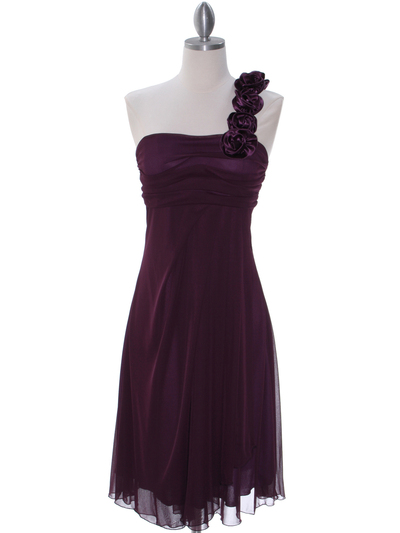 E1801 Purple One Shoulder Homecoming Dress - Purple, Front View Medium
