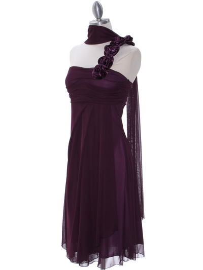 E1801 Purple One Shoulder Homecoming Dress - Purple, Alt View Medium