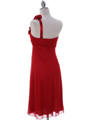 E1801 Red One Shoulder Cocktail Dress - Red, Back View Thumbnail