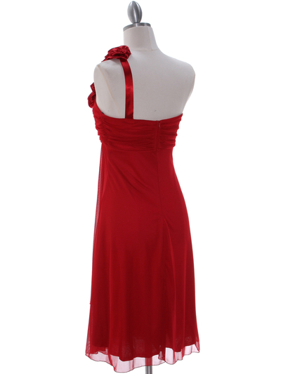 E1801 Red One Shoulder Cocktail Dress - Red, Back View Medium