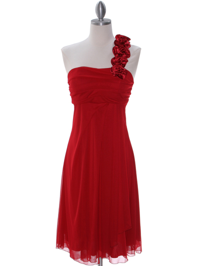 E1801 Red One Shoulder Cocktail Dress - Red, Front View Medium