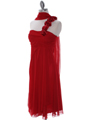 E1801 Red One Shoulder Cocktail Dress - Red, Alt View Thumbnail