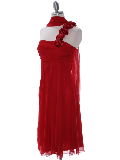E1801 Red One Shoulder Cocktail Dress - Red, Alt View Medium