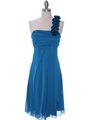 E1801 Teal One Shoulder Homecoming Dress - Teal, Front View Thumbnail