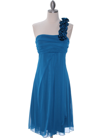 E1801 Teal One Shoulder Homecoming Dress - Teal, Front View Medium