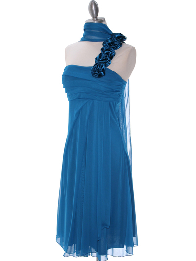 E1801 Teal One Shoulder Homecoming Dress - Teal, Alt View Medium