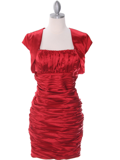 E1808 Red Cocktail Dress with Bolero - Red, Front View Medium