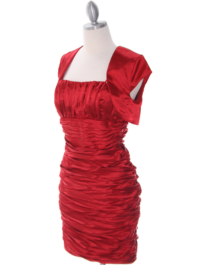 E1808 Red Cocktail Dress with Bolero - Red, Alt View Medium